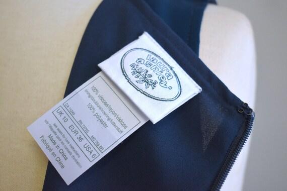 1990s Laura Ashley Navy Beaded Chiffon Maxi Dress - image 7