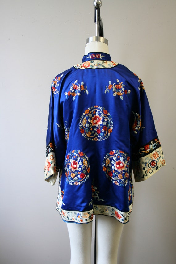 1930s Embroidered Chinese Blue Silk Jacket - image 5