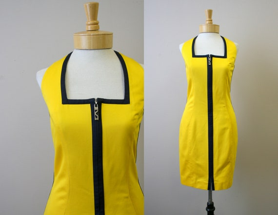 1990s Thierry Mugler Yellow Cotton Zip Front Dress