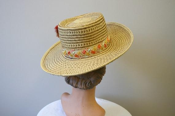 1960s Two Tone Wide Brim Straw Hat - image 4
