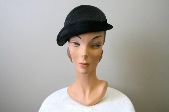 1930s Black Straw Cap