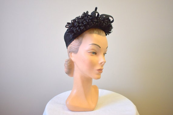 1940s New York Creations Black Loopy Straw Hat