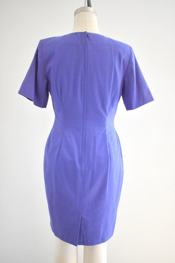 1990s Purple Geometric Embroidered Dress - image 5