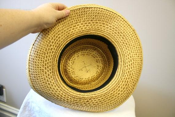 1960s Two Tone Wide Brim Straw Hat - image 9