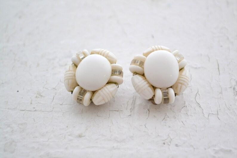 1950s Western German Milk Glass Bead Clip Earrings