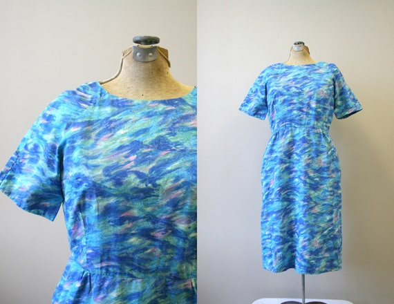 1960s Blue Printed Cotton Dress