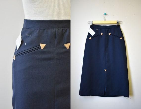 1970s NOS Black Western Style Skirt - image 1