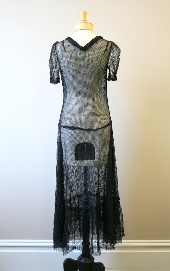 1920s/30s Black Mesh Dress - image 5