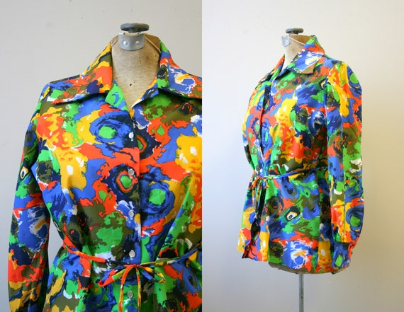 1960s Morlove Bright Abstract Print Blouse with Ti