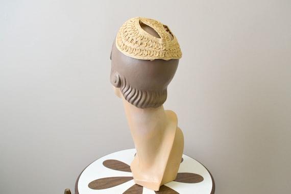 1930s Cream Straw Juliet Cap
