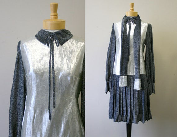 1960s Space Age Silver Drop Waist Dress