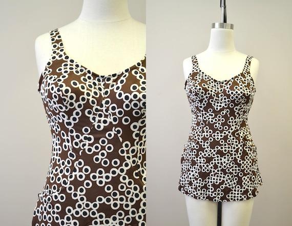 1960s Jantzen Brown Print Swimsuit