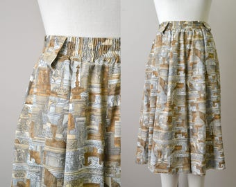 1980s Leslie Fay Architecture Culottes