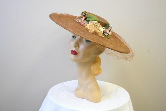 1930s Wide Brim Floral Cartwheel Hat