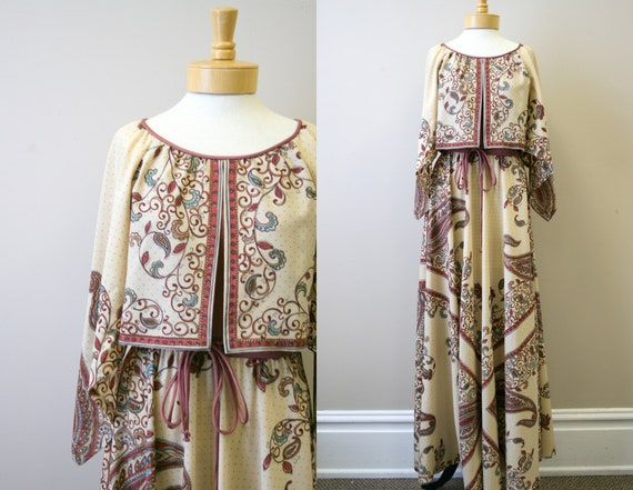 1970s Dalani II Boho Printed Maxi Dress