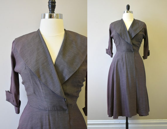 1950s Red-Brown Portrait Collar Wrap Dress