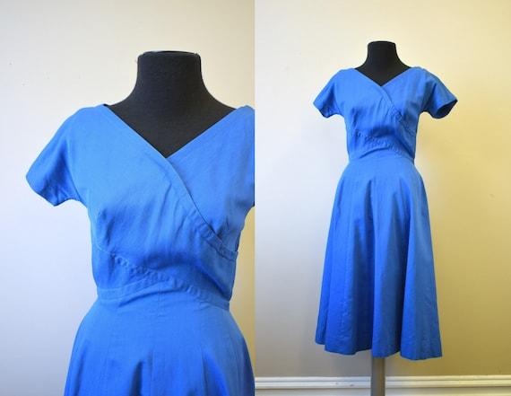 1950s Royal Blue Pique Dress