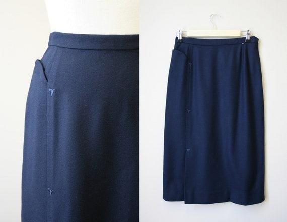 1950s Navy Wool Pencil Skirt