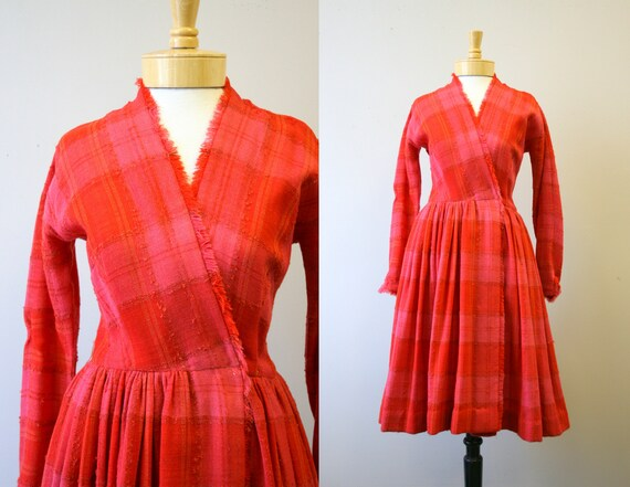 1950s Anne Fogarty Plaid Wool Dress