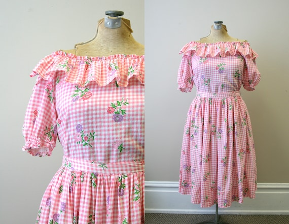 1950s Pink Gingham and Floral Two Piece Skirt Set