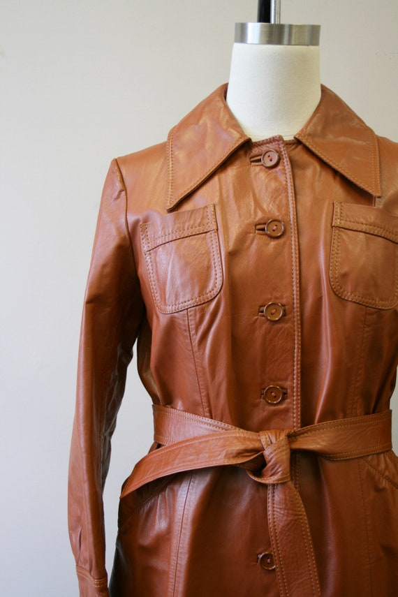 1970s Brown Leather Trench Coat - image 2