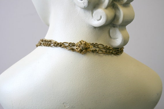 1930s Miriam Haskell Brass Dangle Necklace - image 5