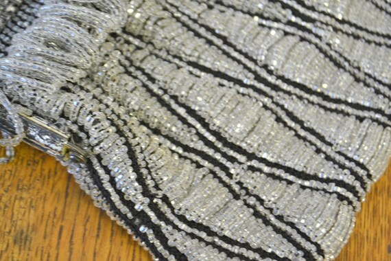 1920s/30s Clear and Black Beaded Purse - image 7