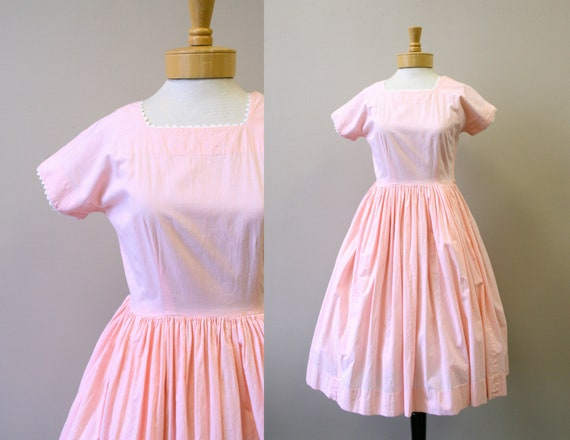 1950s Pink and White Cotton Gingham Dress