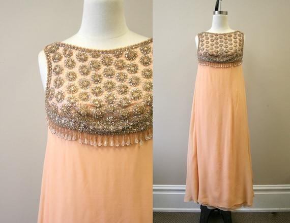 1960s Peach Silk Chiffon Beaded Evening Gown