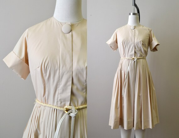 1960s Pale Tan Shirtwaist Dress