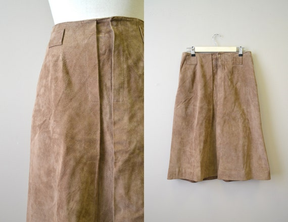 1960s Anne Fogarty Brown Suede Mod Skirt