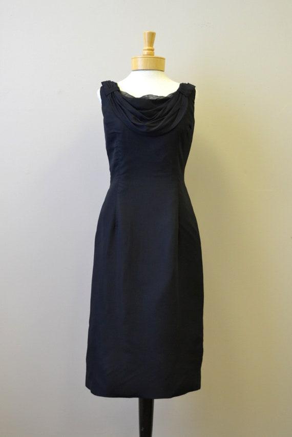 1950s Melbray Black Chiffon Wiggle Dress - image 2
