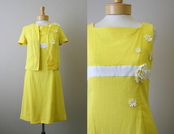 1960s Minx Modes Yellow Daisy Dress and Jacket Set