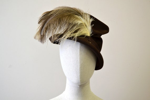 1940s Brown Hat with Large Feather