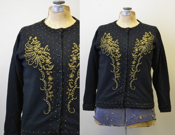 1950s Black and Gold Beaded Cardigan Sweater