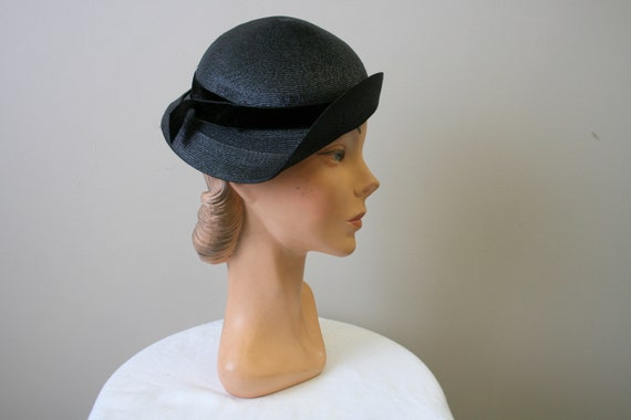 1930s Black Straw Cap - image 2