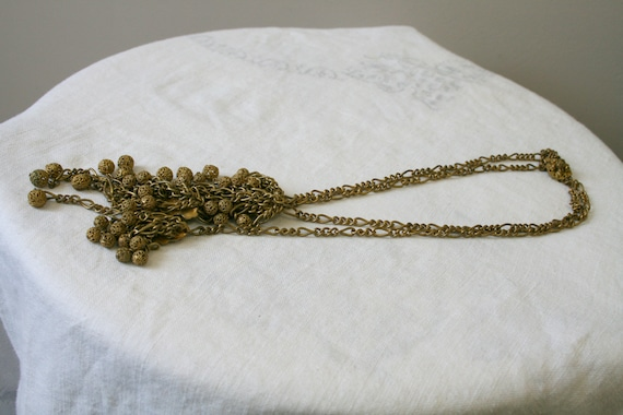 1930s Miriam Haskell Brass Dangle Necklace - image 7
