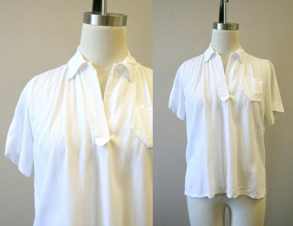 1940s White Linen Blouse
