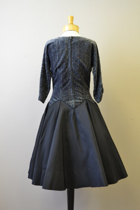 1980s-does-1950s Black and Silver Formal Dress - image 5