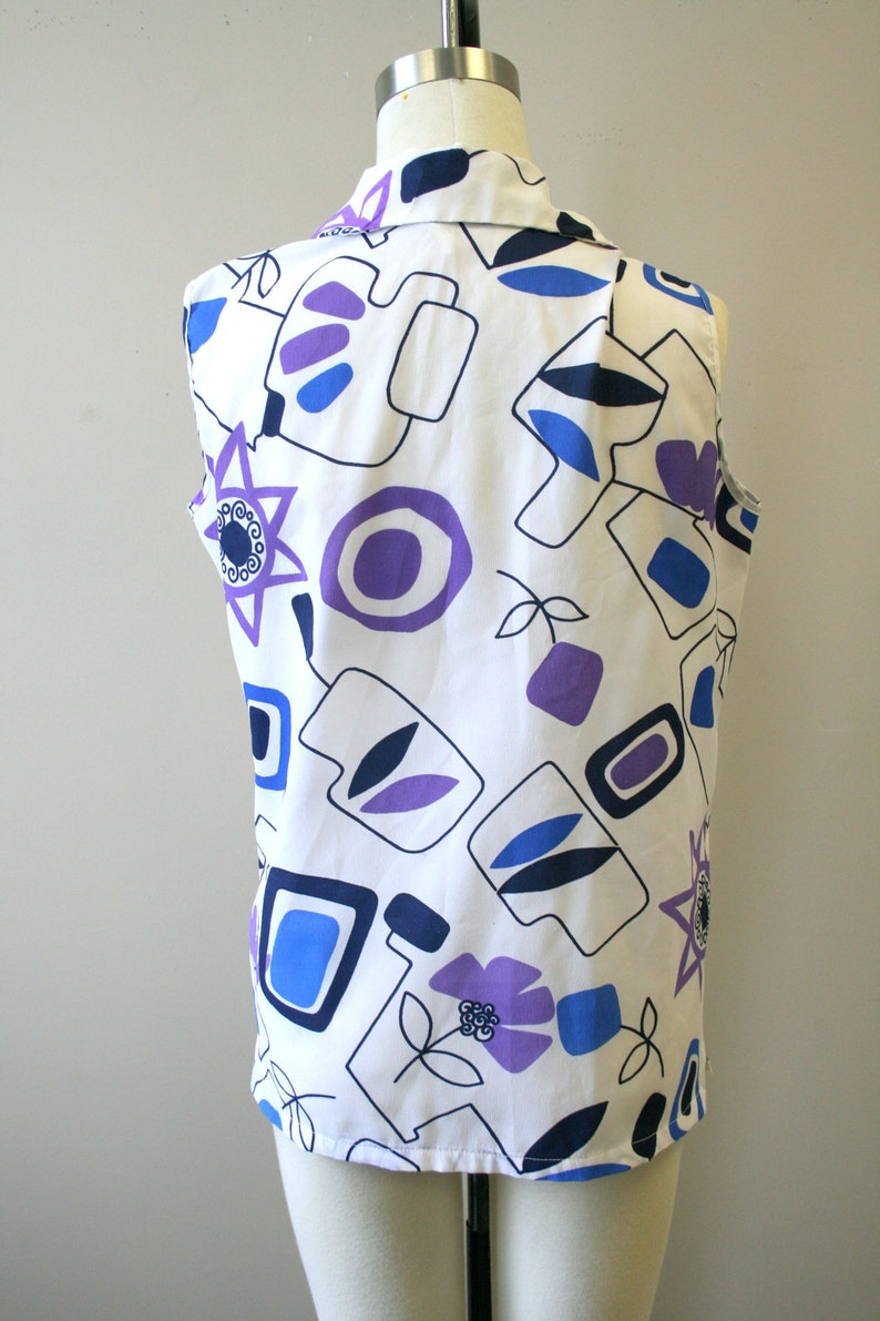 1960s Miss Holly Atomic Print Blouse