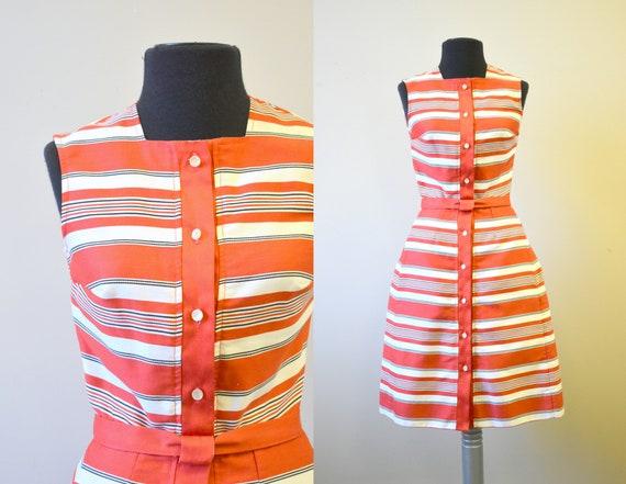 1960s Pat Premo Red Striped Dress