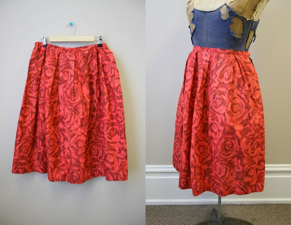 1960s Red Rose Pleated Skirt