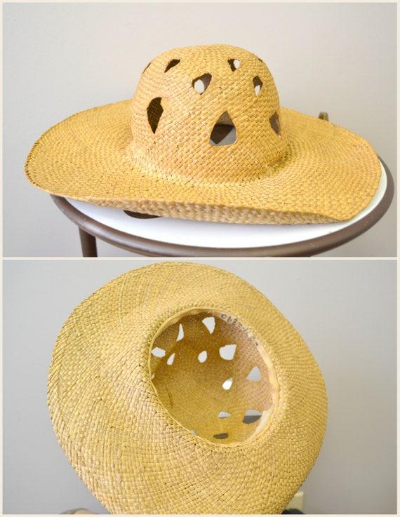 1930s Wide Brimmed Straw Sun Hat - image 5