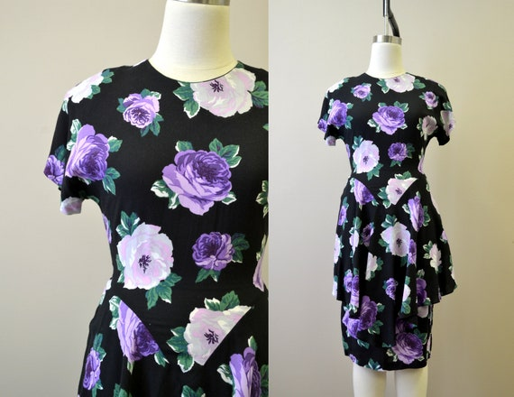 1980s-does-40 Purple Rose Print Dress with Peplum - image 1