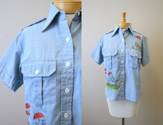 1970s Hand Painted Scarecrow Chambray Shirt