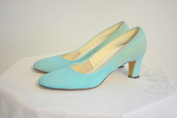 1960s Stratford Aqua Heels, Size 7 1/2 AAA