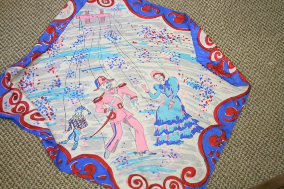 1940s Marionettes Silk Scarf - image 3