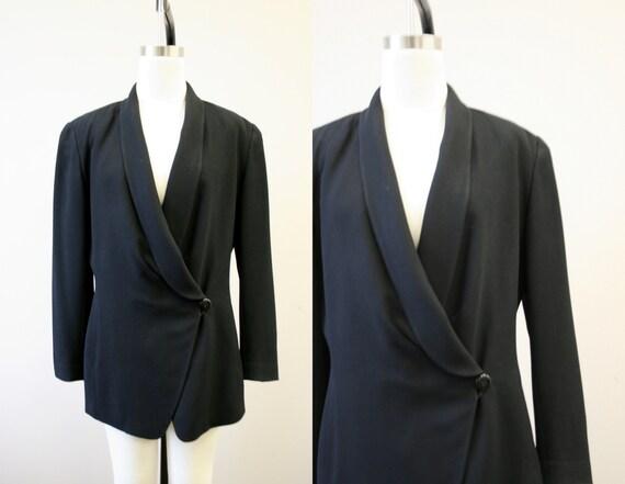 1990s Evan-Picone Black Oversized Blazer