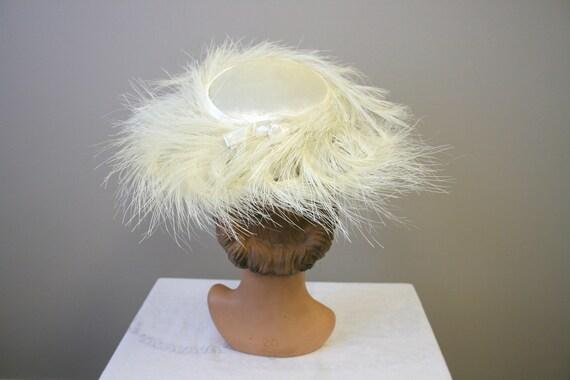 1950s Cream Feather Cartwheel Hat