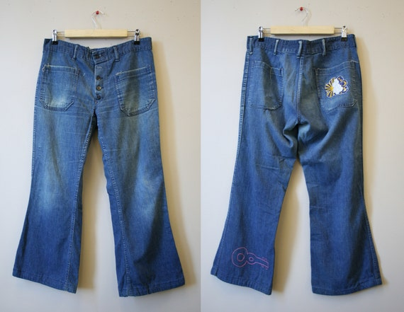 1950s/60s Sailor Jeans with Hippie Embroidery and